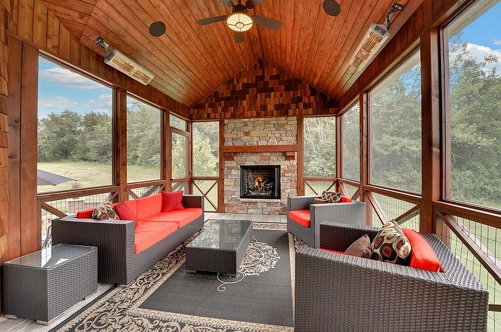 Rustic sunroom with a splash of red and gray [Design: Mark D. Williams Custom Homes]