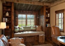 Rustic window seat crafted from reclaimed wood for the home office