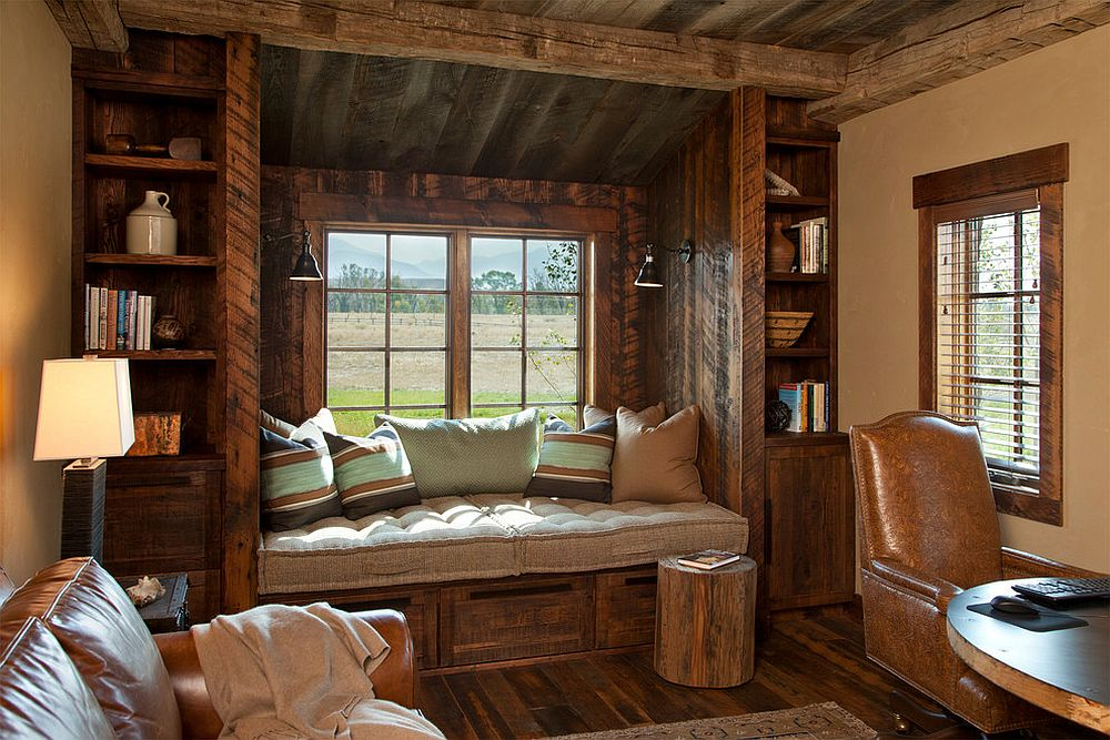 Rustic window seat crafted from reclaimed wood for the home office [Design: Van Bryan Studio Architects / Carter Kay Interiors.]