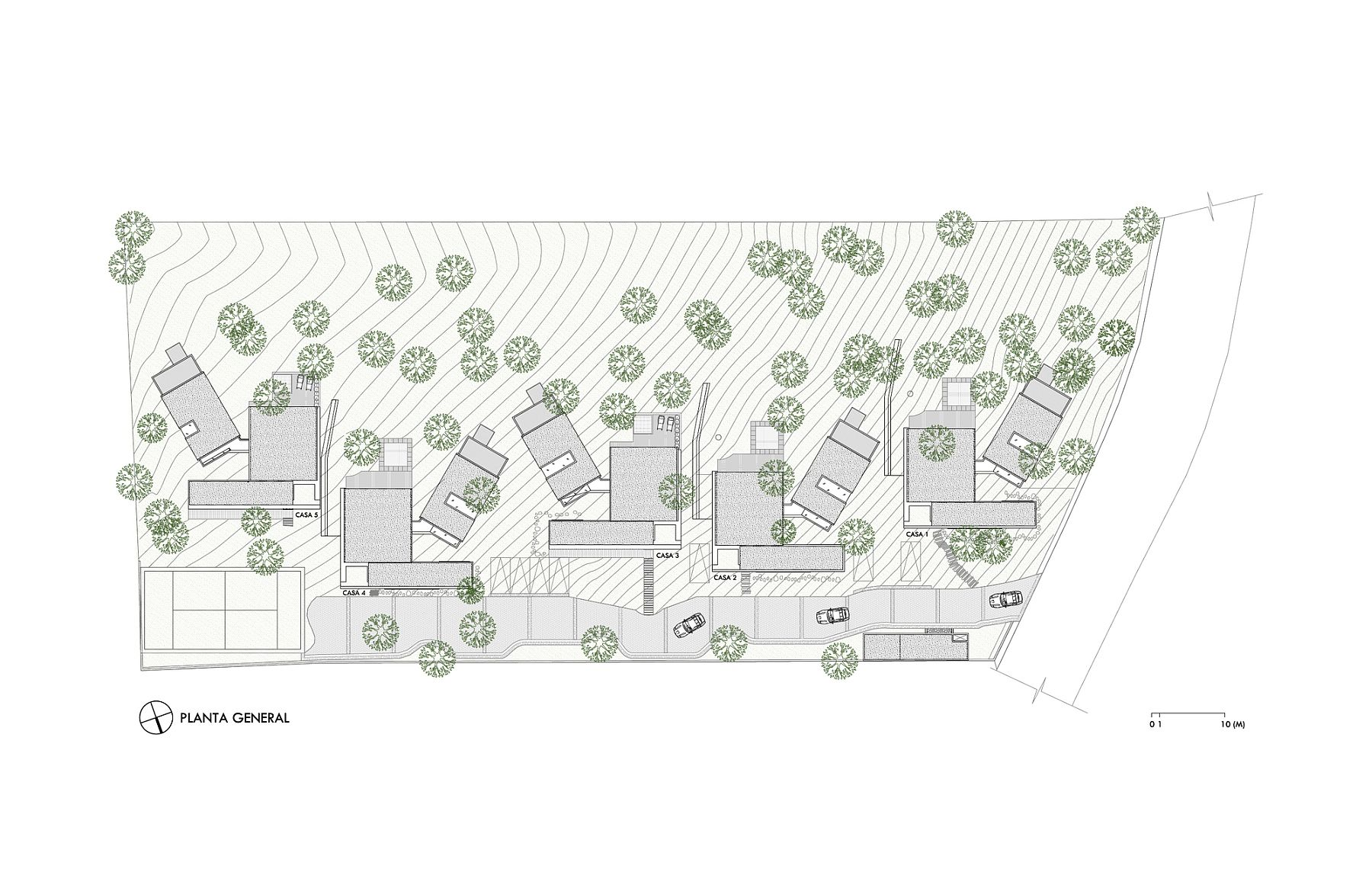 SIte plan of Five Houses in Mexico