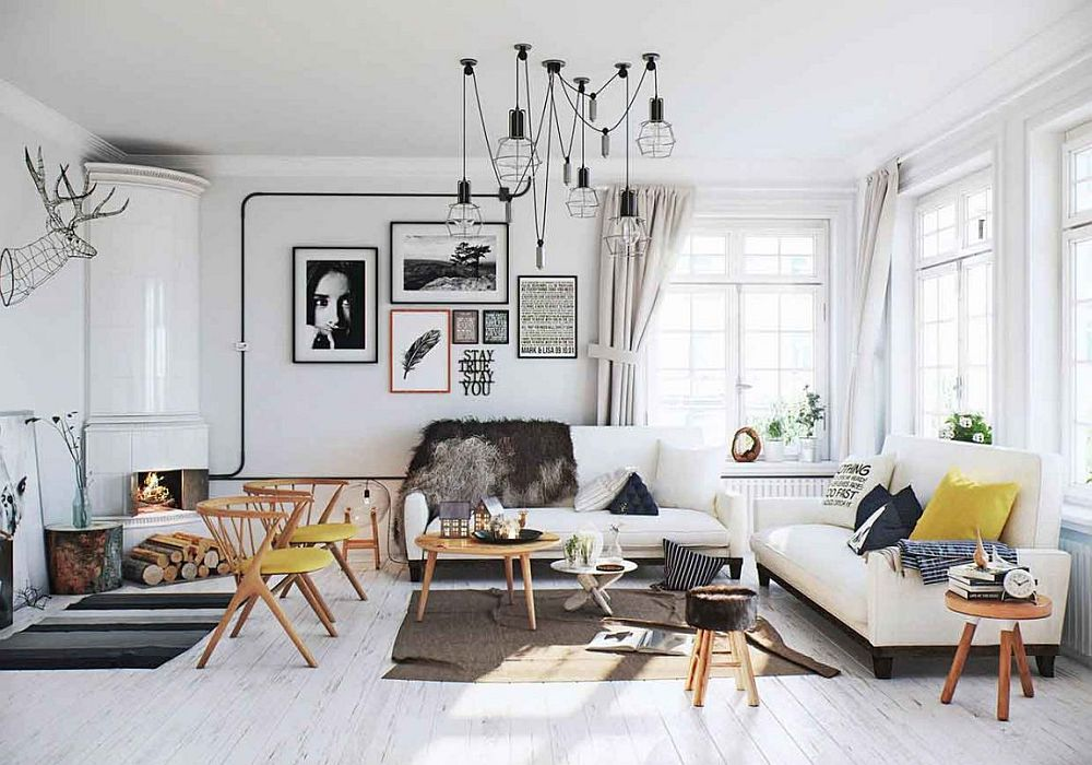 Scandinavian apartment design in white