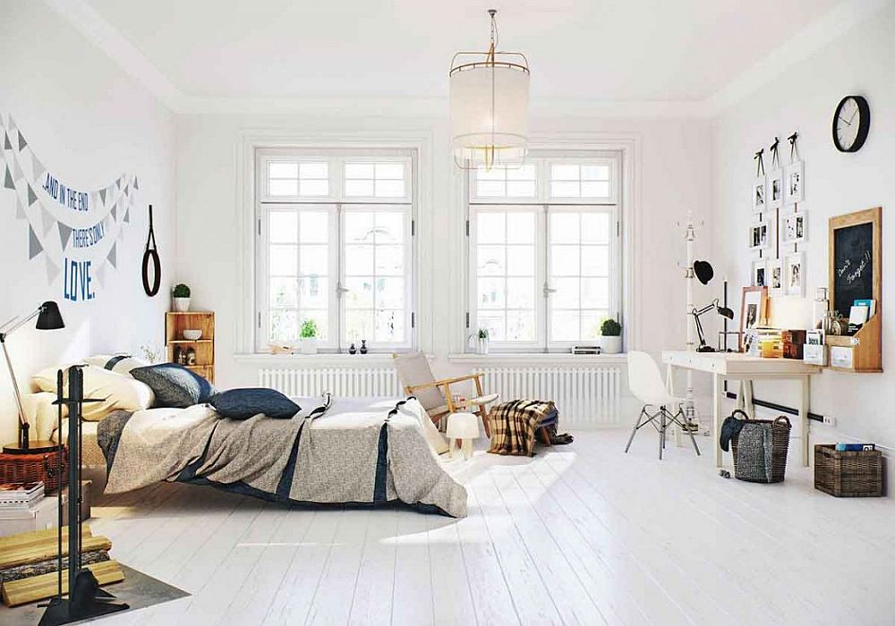 Scandinavian bedroom idea with small workstation