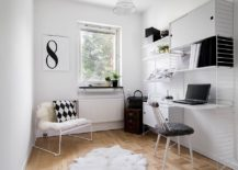 Scandinavian home office in white is a classic that never dissapoints