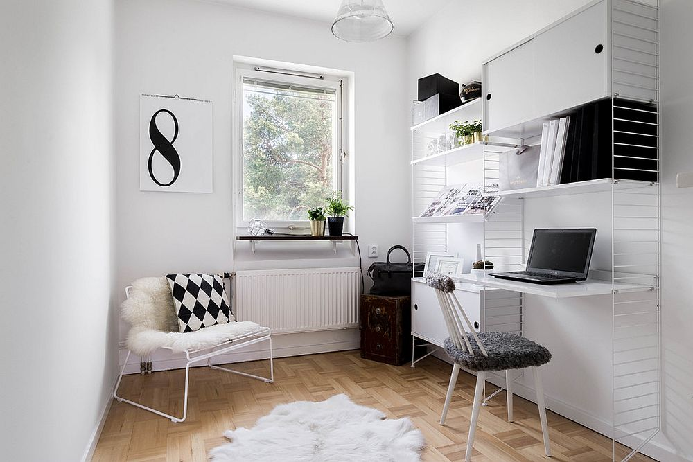Scandinavian home office in white is a classic that never disappoints [Design: Anton Tiilikainen]