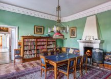 Scandinavian simplicity coupled with Victorian charm in the colorful and relaxing dining room