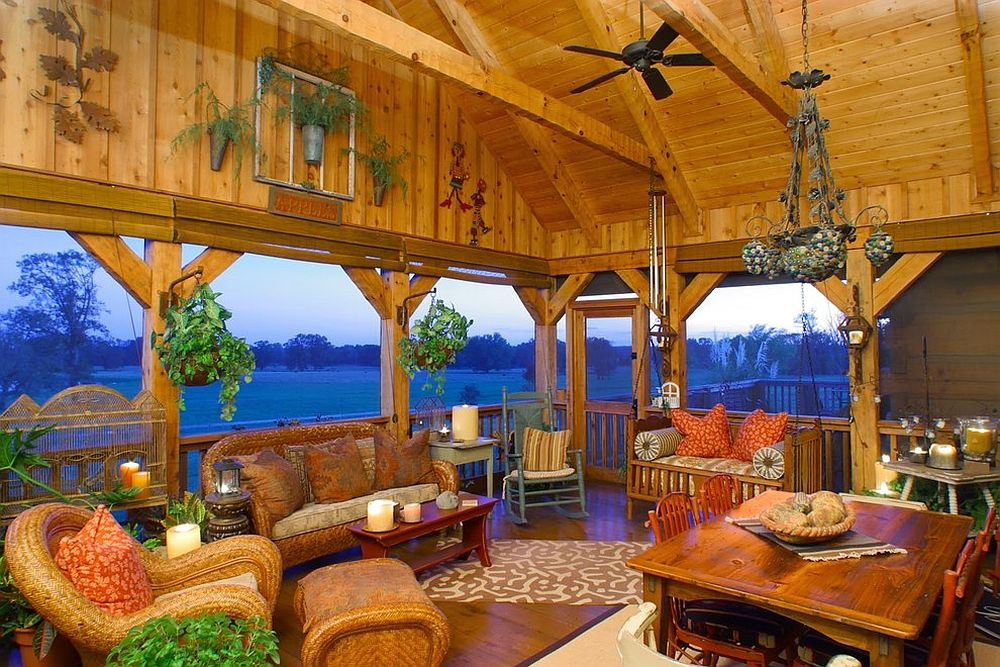 Screened porch overlooking the valley acts as a fabulous sunroom [Design: Hearthstone Inc]