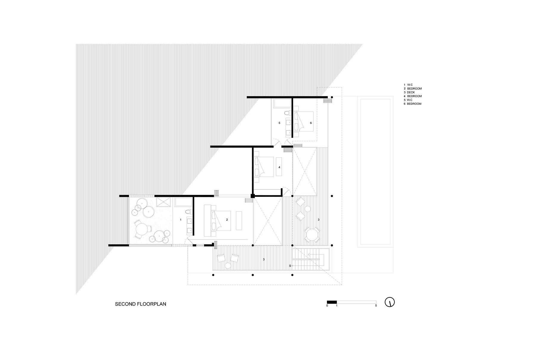 Second level floor plan with bedrooms