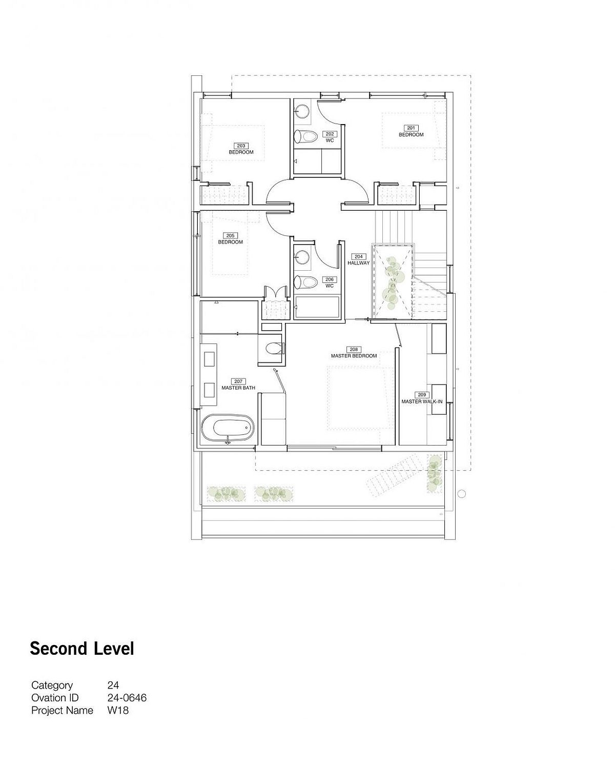 Second level floor plan with master bedroom and additional bedrooms