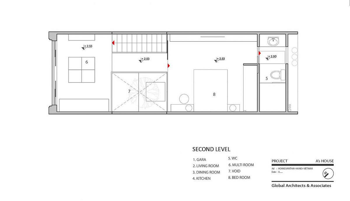 Second level floor plan with multi room and bedroom
