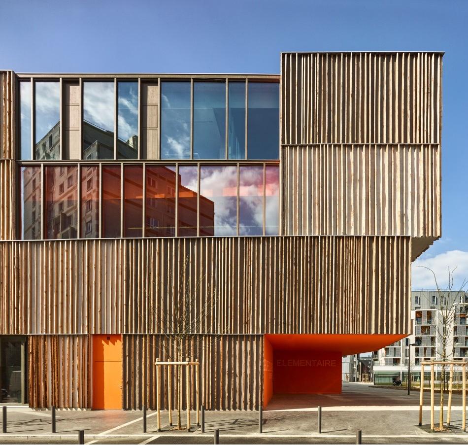 Simone Veil group of schools wood facade