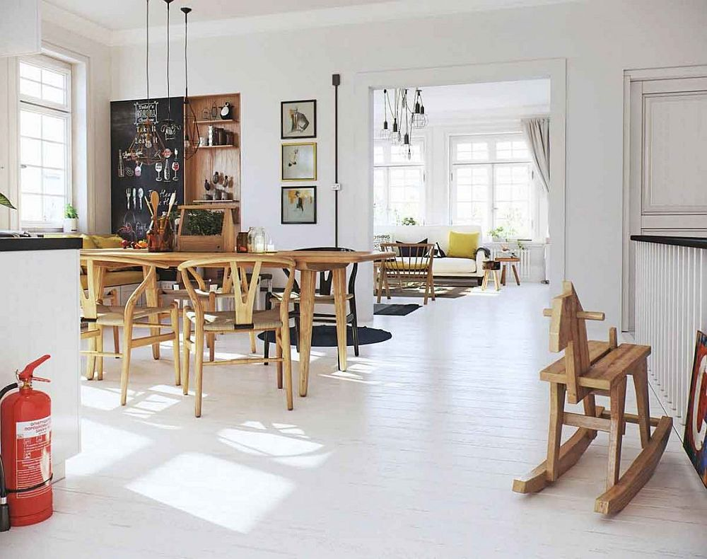 Simple and geometric style pendants for the living room and dining area
