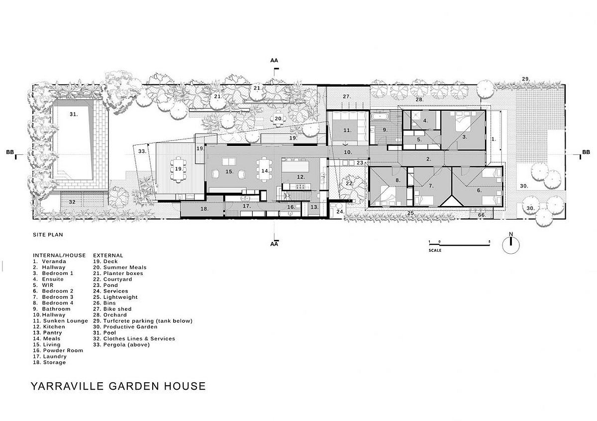 Site plan of contemporary Melbourne home with ample garden space