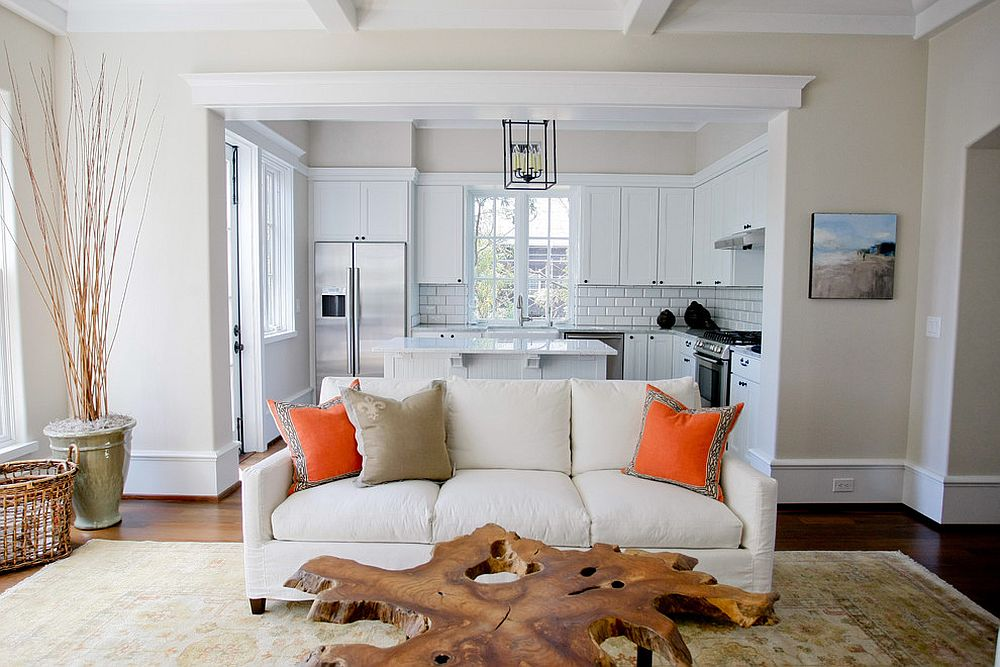 Slice from a tree trunk turned into a cool coffee table [Design: Margaret Donaldson Interiors]