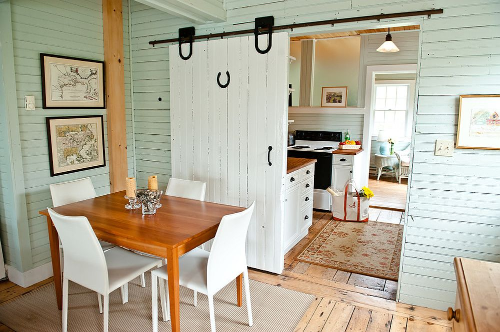 Sliding barn doors are a space-saver in the small dining room