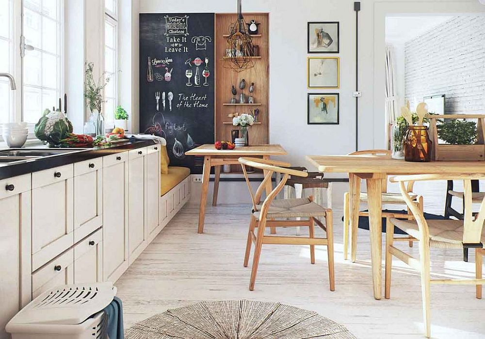 Sliding door clad in chalkboard paint next to the small sitting nook in the kitchen