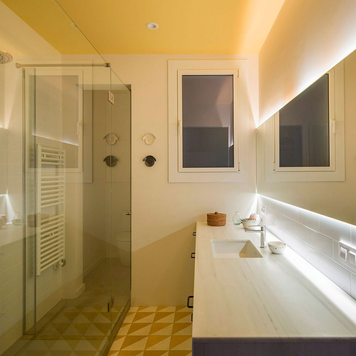 Small bathroom of the rejuvinated bathroom in a home with chamfered corners