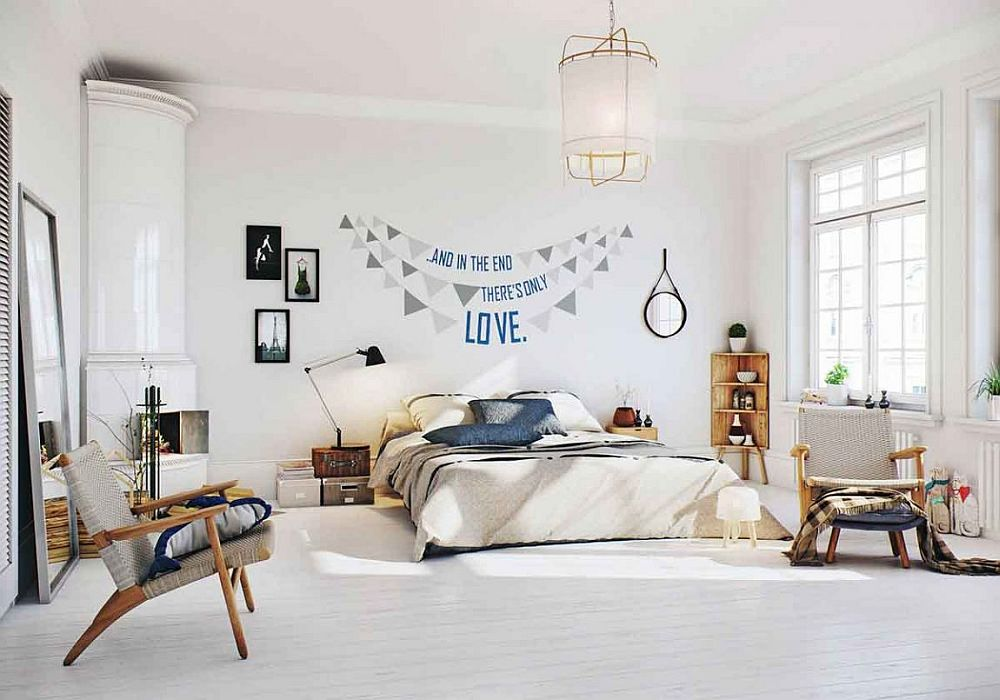 Smart Scandinavian bedroom in white