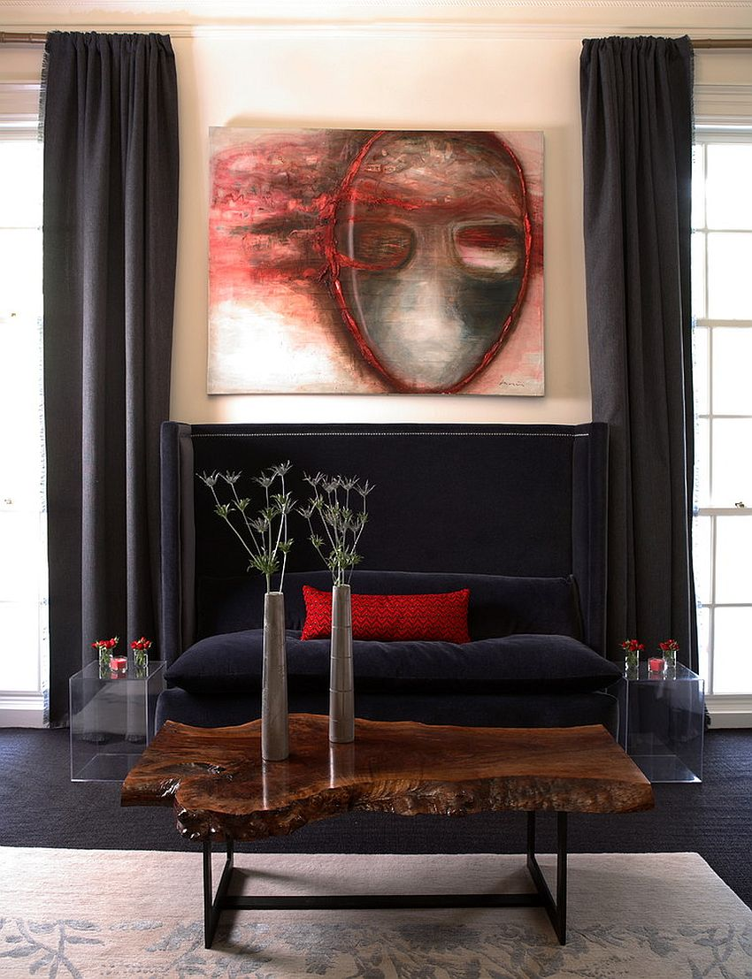 Sophisticated contemporary living room with a smart live-edge coffee table [Design: Dillard Pierce Design Associates]