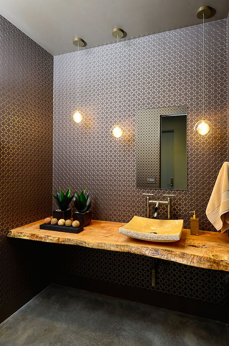 Sophisticated contemporary powder room with a live edge vanity [Design: Neal Huston & Associates]
