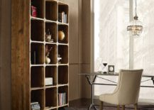 Space-savvy reclaimed wood open bookcase for the modern home office