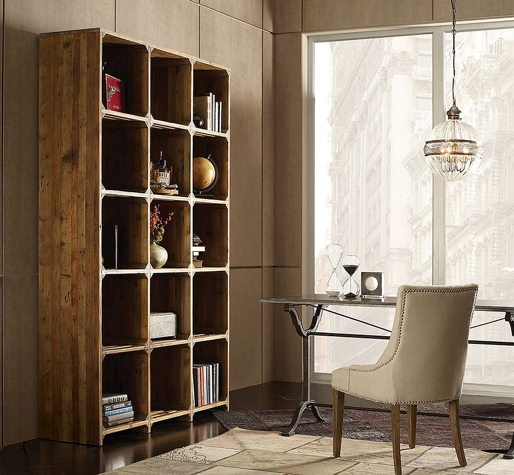 Space-savvy reclaimed wood open bookcase for the modern home office [From: Zin Home]