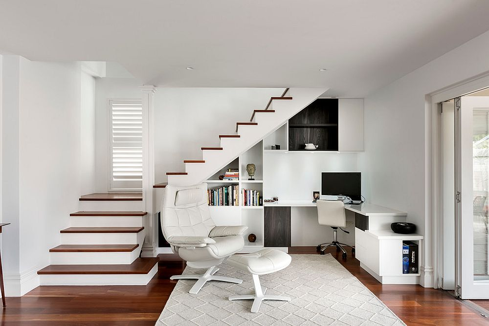 Space under the staircase turned into a fabulous home office [Design: Art Haus and co]