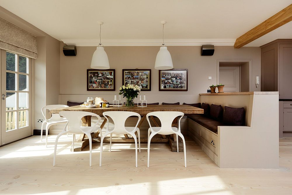 View In Gallery Spacious And Cheerful Scandinavian Dining Room With A Large Banquette From Sola Kitchens
