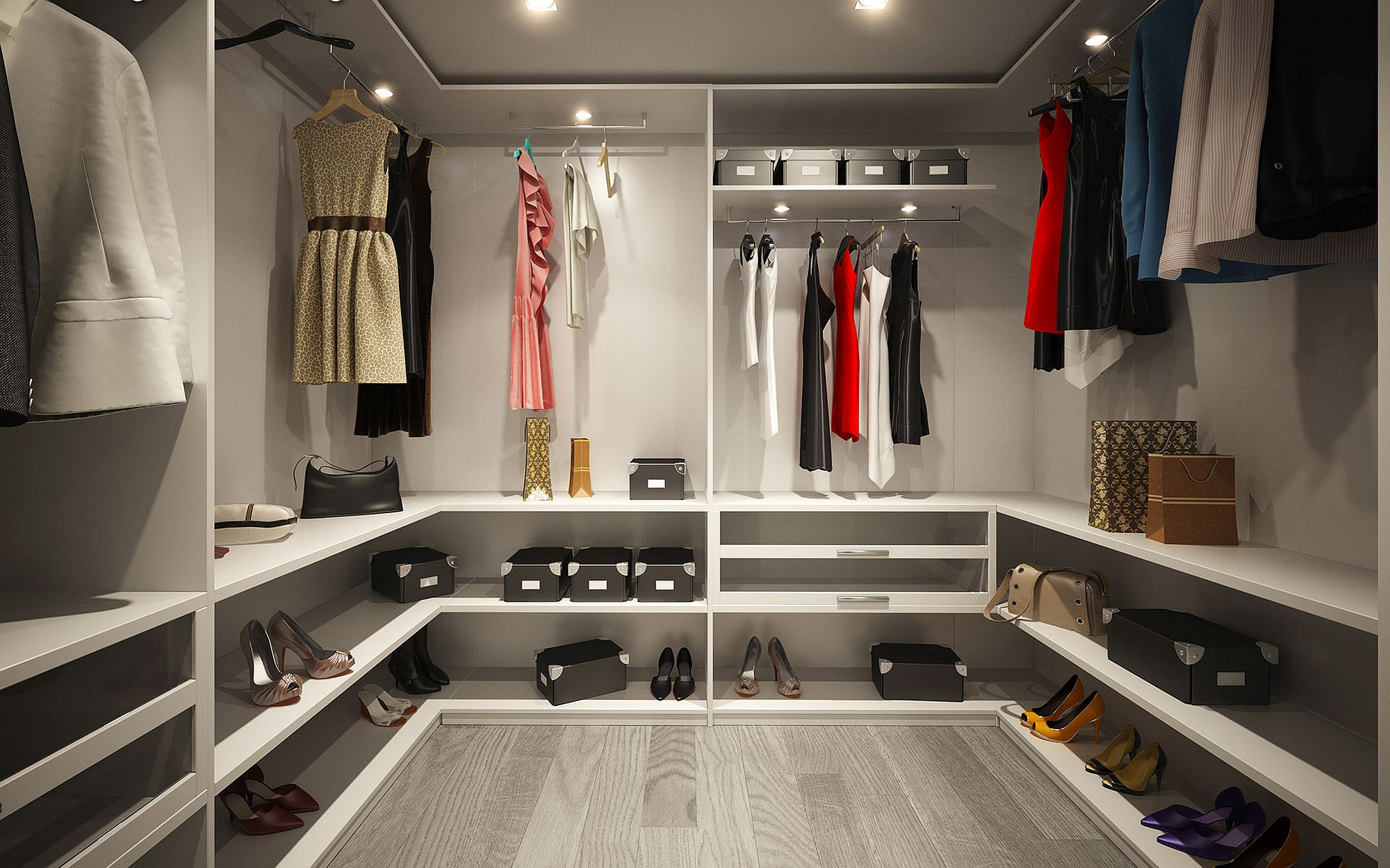 Spacious walk-in closets designed to perfection