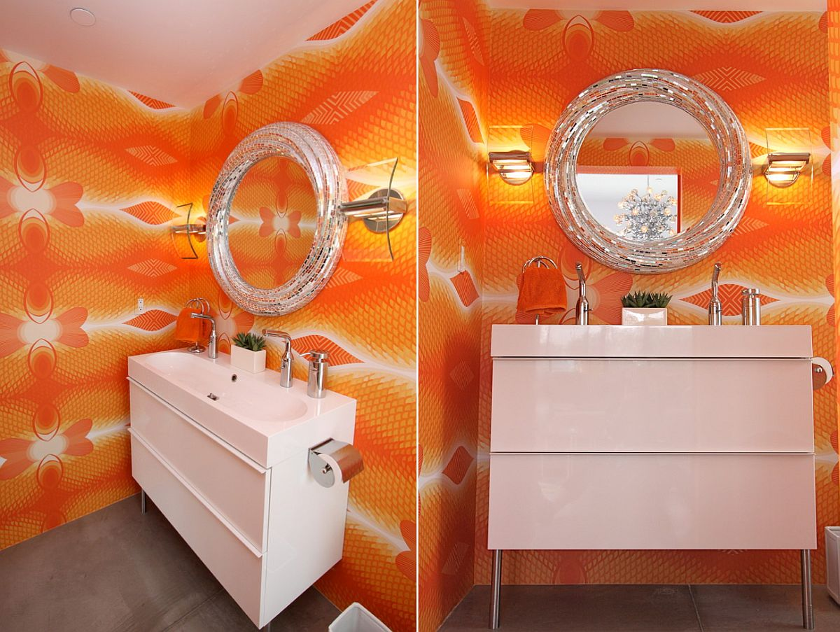 Sparkling contemporary powder room for those who dare to go bold [Design: Chimera Interior Design]
