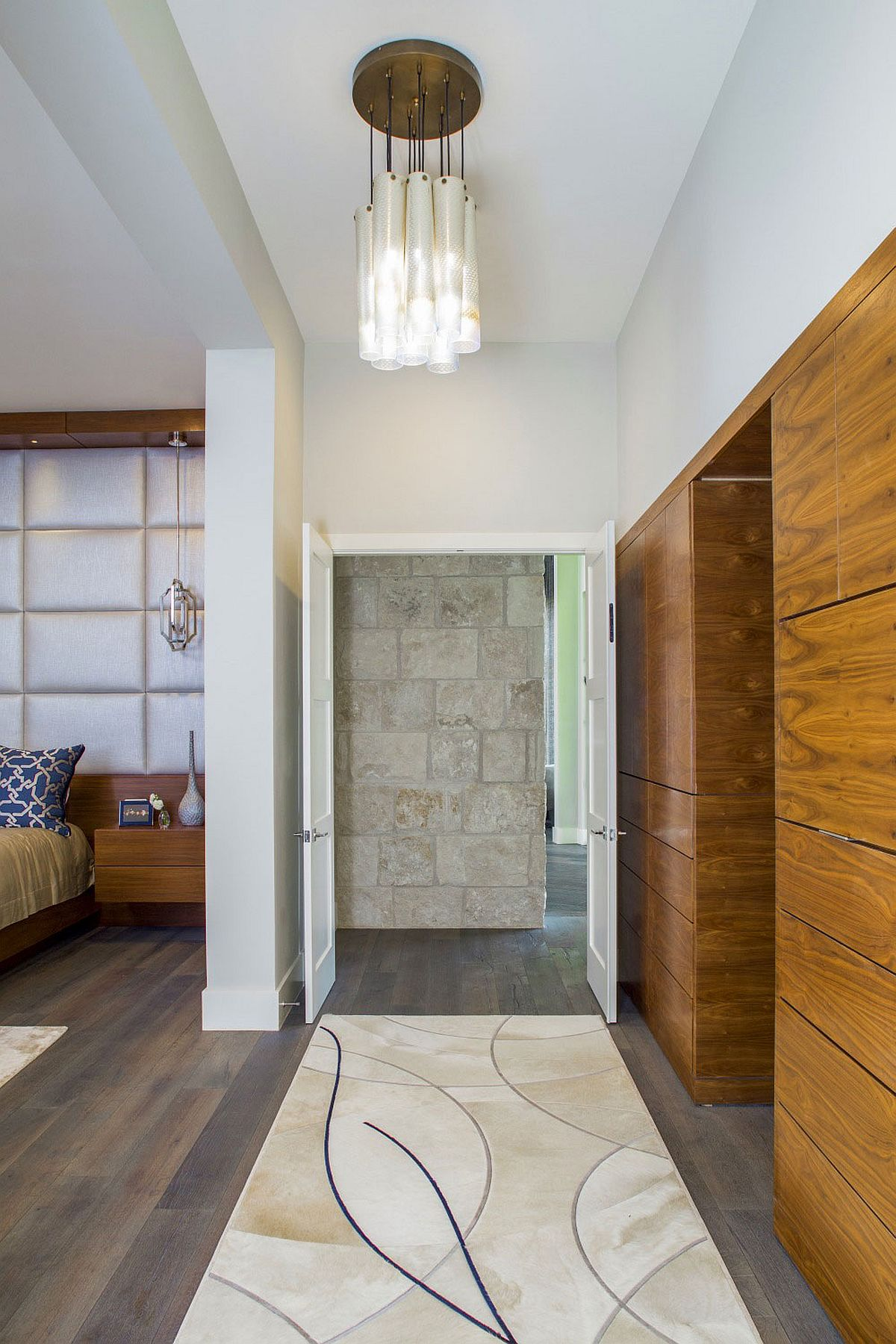 Stone, wood and glass meet at the lovely Texas home