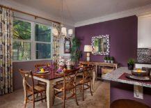 Striking tropical dining room in purple