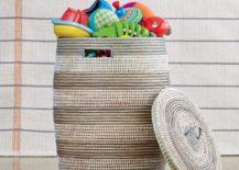 Striped woven hamper