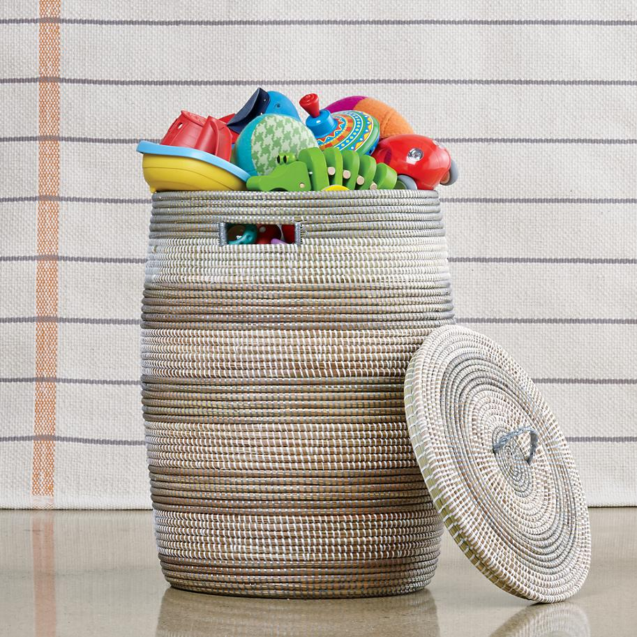 Striped woven hamper