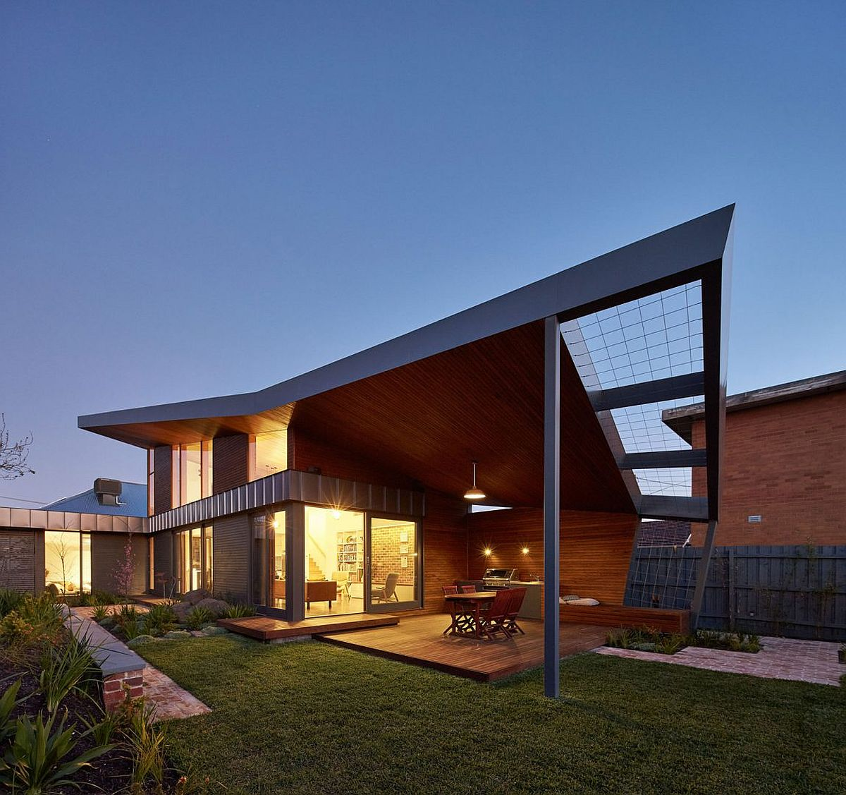 Structure of the home offers natural shade to the al fresco dining