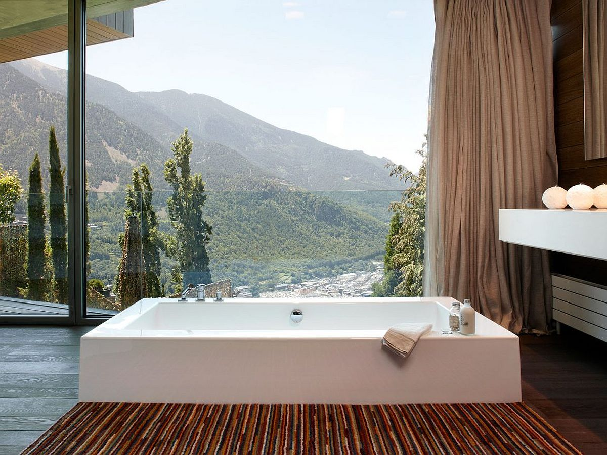 Stunning mountain views from the modern bathroom of the home in Andorra