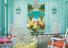 Stunning tropical dining room in turquoise with colorful chairs 217x155 10 Vibrant Tropical Dining Rooms with Colorful Zest