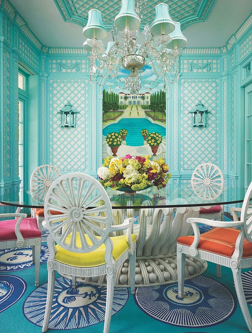 Stunning tropical dining room in turquoise with colorful chairs [Design: Anthony Baratta]