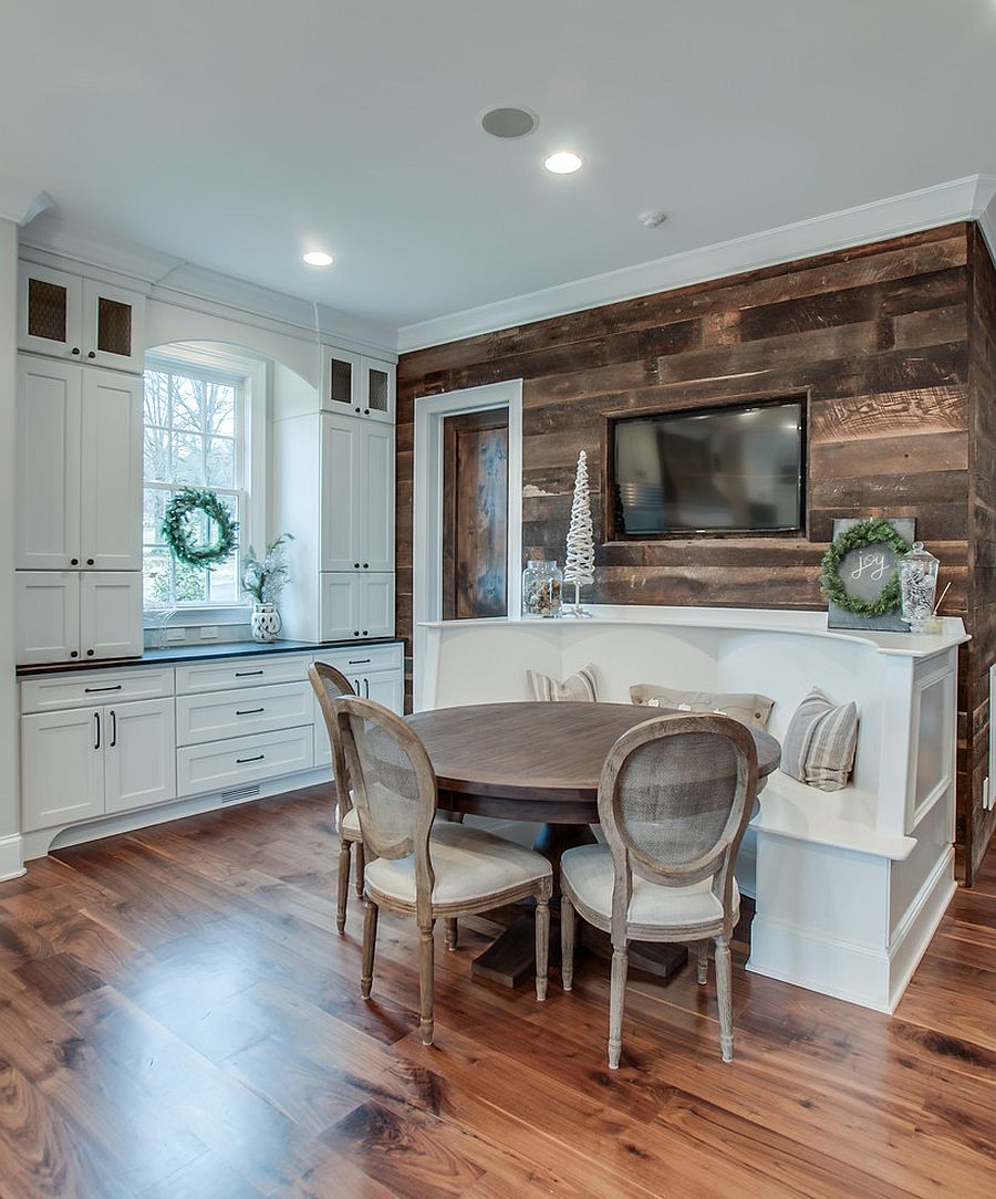 Stylish accent wall in reclaimed wood for the modern kitchen [Design: Frenchs Cabinet Gallery]