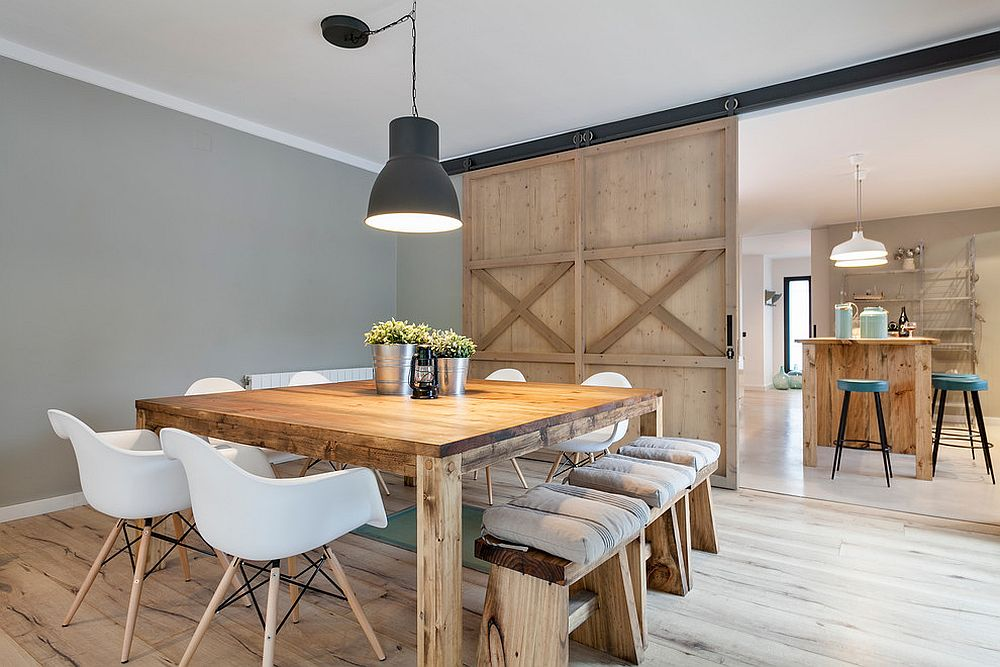 Stylish dining room in gray with modern farmhouse appeal [Design: Dröm Living]