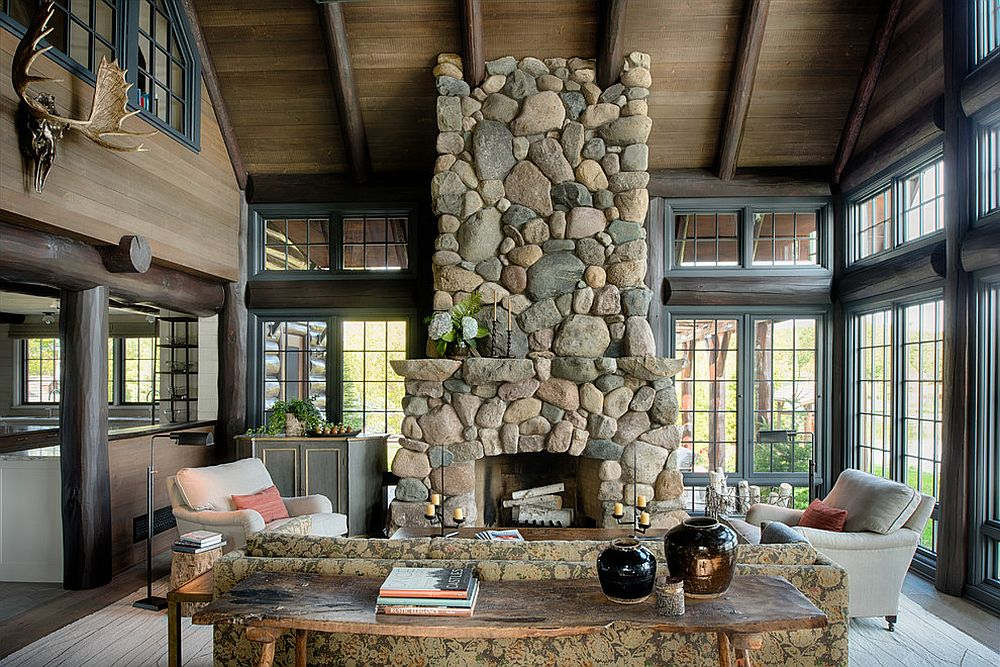 Stylish stone fireplace and live edge table for the spacious sunroom [Design: Nor-Son]