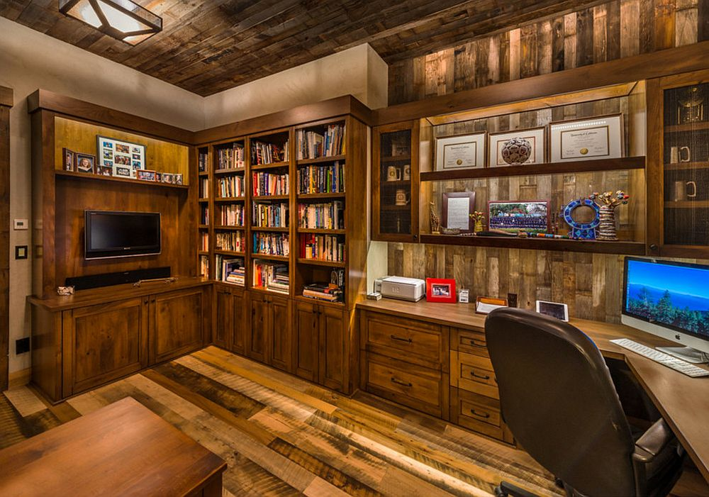 Sustainable and rustic home office full of woodsy charm [From: Heller Construction / Photography: VanceFox.com]