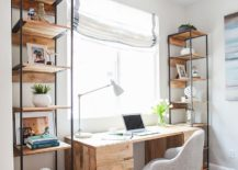 Tall and open reclaimed wood shelves for the beach style home office
