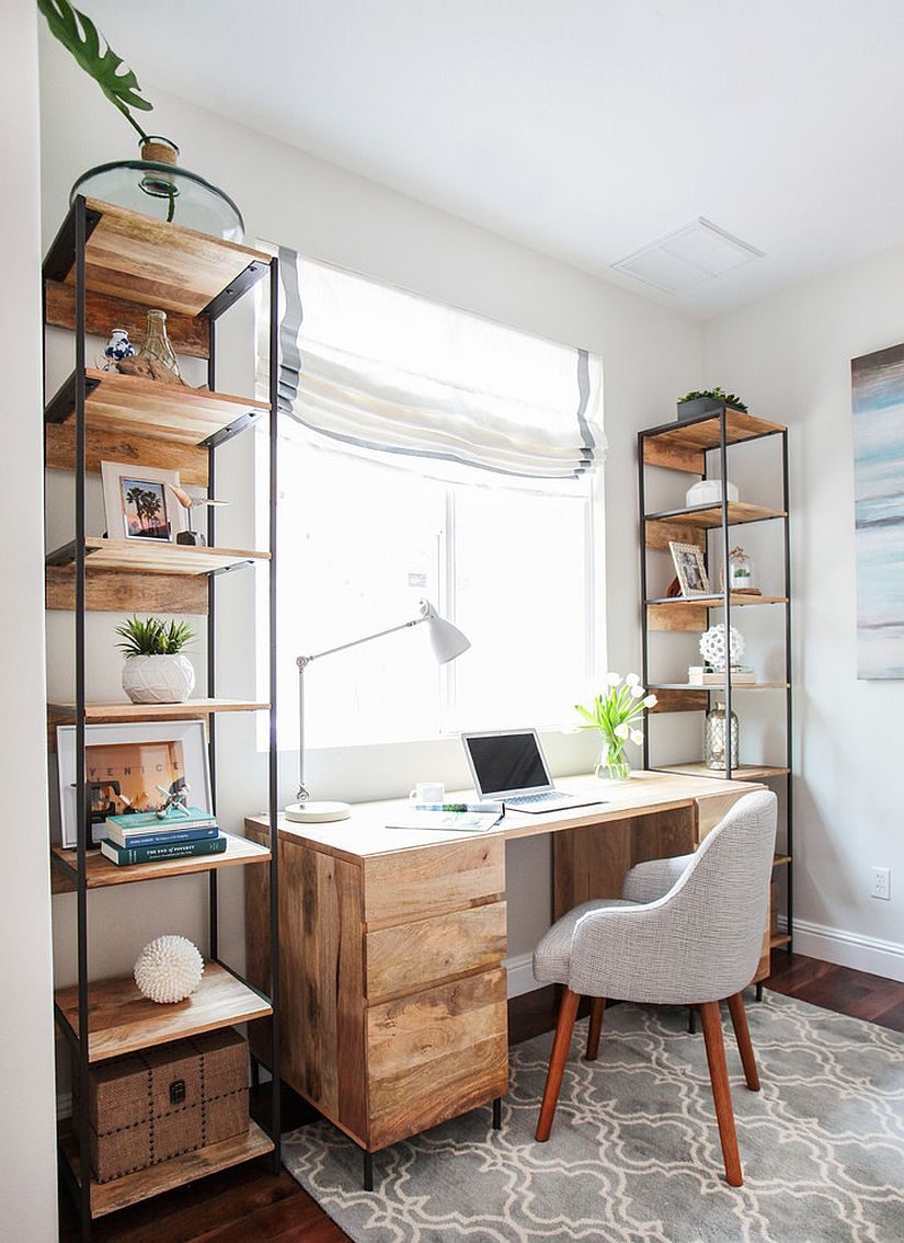 Tall and open reclaimed wood shelves for the beach style home office [From: Made Co Interiors]