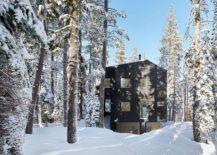 Tar-treated wood siding gives the cabin in Sugar Bowl Ski Resort a distinct, dark exterior