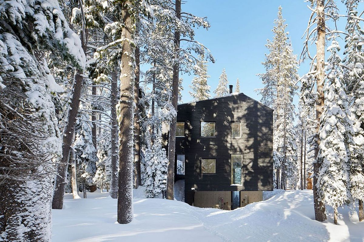 Tar-treated wood siding gives the cabin in Sugar Bowl Ski Resort a distinct, dark exterior