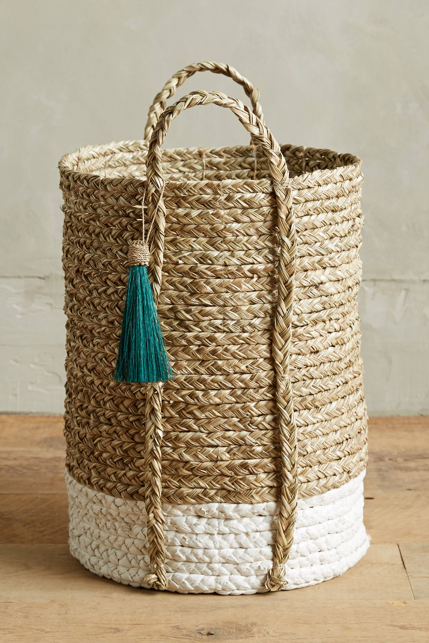 Tassel laundry basket from Anthropologie