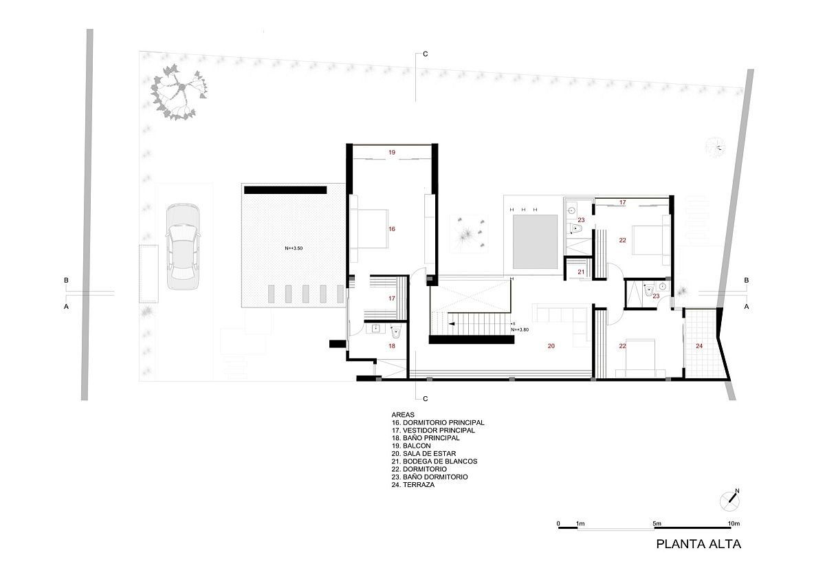 Top level floor plan of House PY