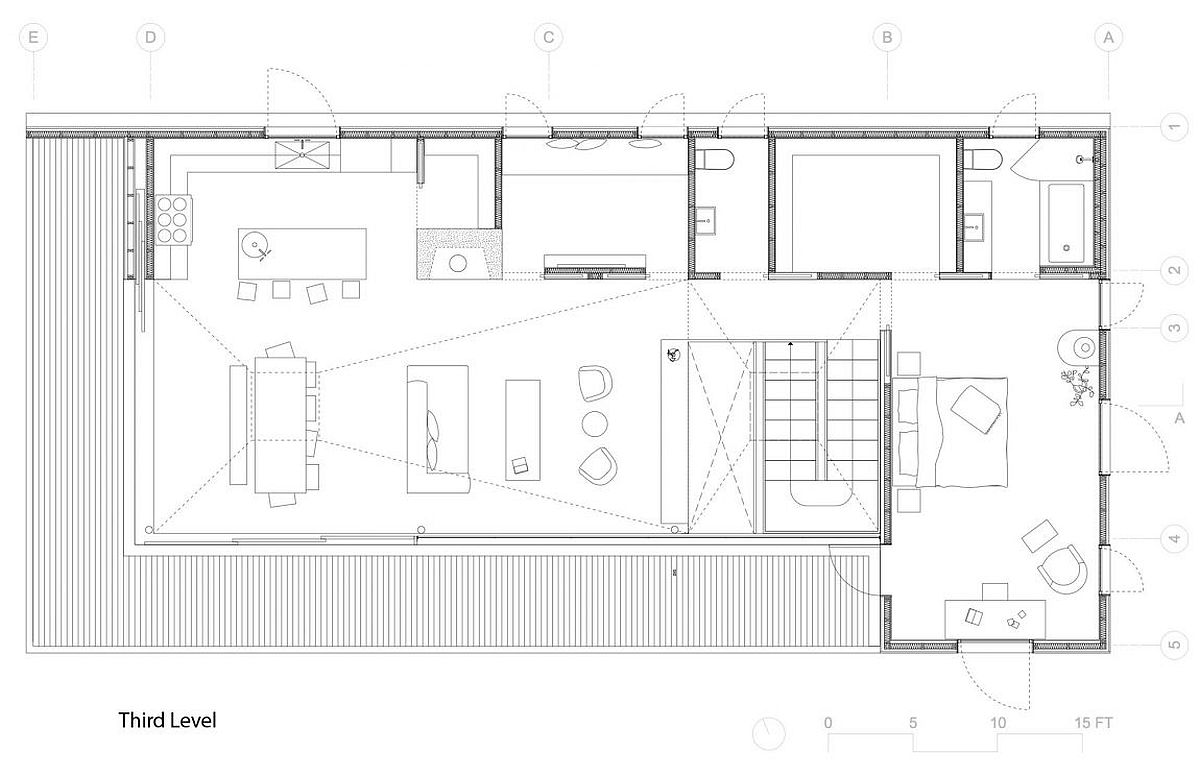 Top level floor plan with open living area and balcony
