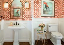 Traditional powder room in orange and white