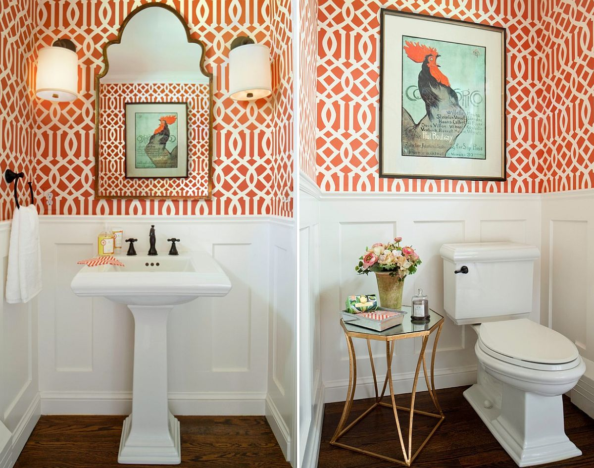 Traditional powder room in orange and white [Design: Laura Iverson Design]